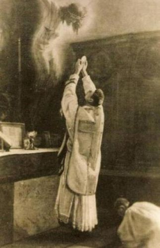 Miracle registered during the celebration of the Holy Mass on a photographic film in Bavaria on August 29th 1932. The picture shows a priest on the third day after his ordination. The photo was taken by his brother, a disbeliever, who did not believe that the Holy Mass is the Golgotha of our Lord Jesus Christ.